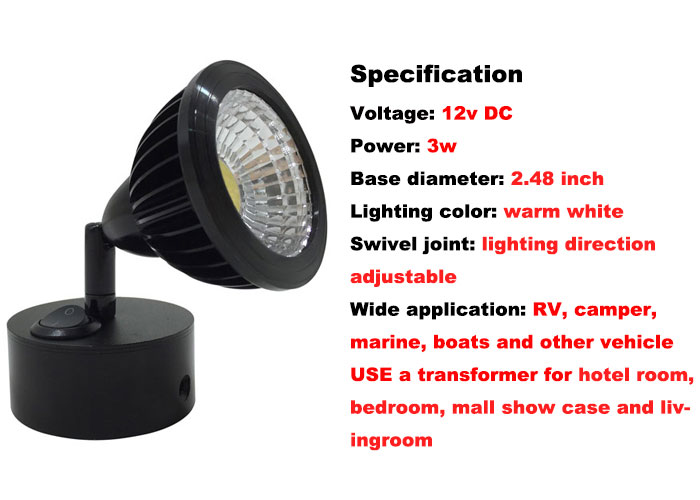 purchase 2x rv 12v 3w adjustable led reading light w